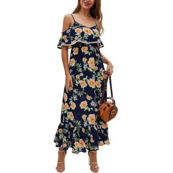 LKJASDHL 女性のスパゲッティストラップコールドショルダーフローラルプリントロングドレス快適で滑らかなエレガントな ファッションソフトセクシーなビーチドレス (色 : 青, サイズ : M)
