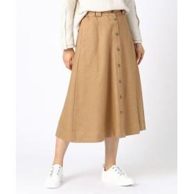 COMME CA ISM/コムサイズム コットンリネンウールフロント釦 フレア スカート(ONIGIRI) キャメル L