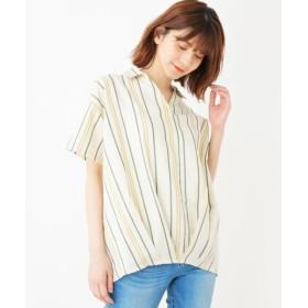 SHOO・LA・RUE/シューラルー 【WEB限定サイズ・05(3L)あり/らくリネン/】タックスキッパーシャツ ホワイト(302) 02(M)