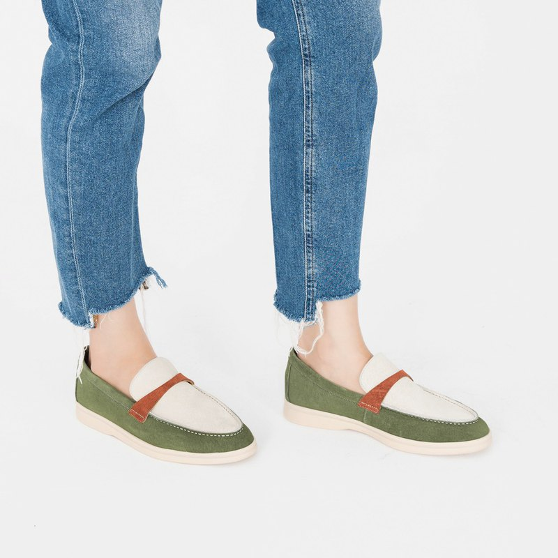 輕防水系!彩色蠟筆輕盈樂福鞋 綠 MIT 全真皮-濃抹茶