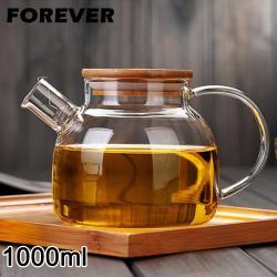 日本FOREVER  日式竹蓋耐熱玻璃把手花茶壺1000ML