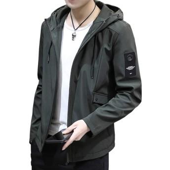 SHEYA ジャケット メンズ 秋冬 カジュアル ビジネス 防風防寒 おしゃれ 無地 おおきいサイズ (グリーン, M)