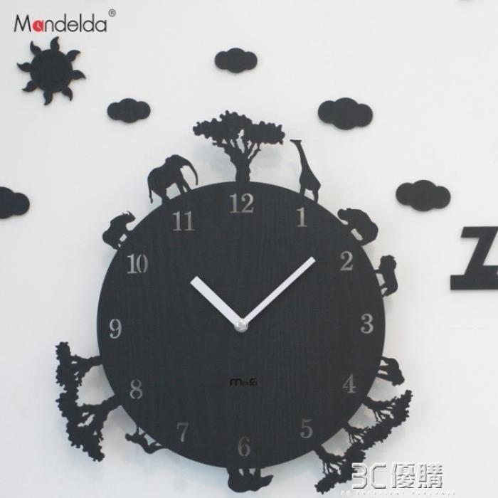 韓國創意卡通動物時鐘臥室靜音12寸牆壁掛鐘客廳現代掛錶