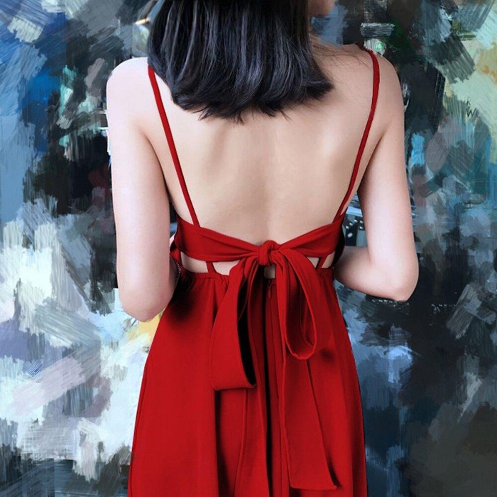洋裝露背紅色長裙洋裝女夏波西米亞度假蝴蝶結禮服沙灘裙性感吊帶裙【快速出貨】
