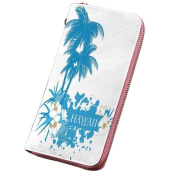 ハワイアンデコレーション 印刷済みPU長財布 ヤシの木熱帯植物花と蝶シルエットモノクロアートワーク ラウンドファスナー 大容量 小銭入れ 紳士 アクアホワイト