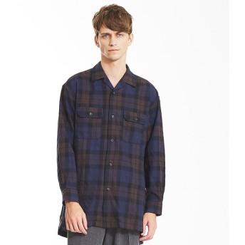 【アバハウス/ABAHOUSE】 モールチェックロングオープンカラーシャツ