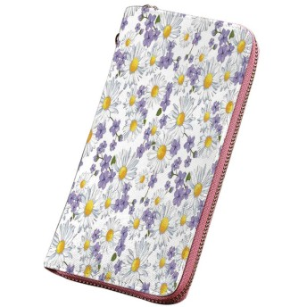 花 印刷済みPU長財布 開花カモミールの野生の花夏背景春の自然なパターン ラウンドファスナー 大容量 小銭入れ 紳士 白黄紫