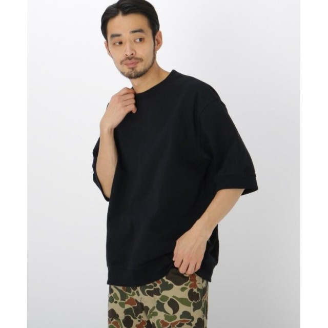 ベースステーション ビッグシルエット リブ付き 半袖 Tシャツ メンズ ブラック(019) 01(S) 【BASE STATION】