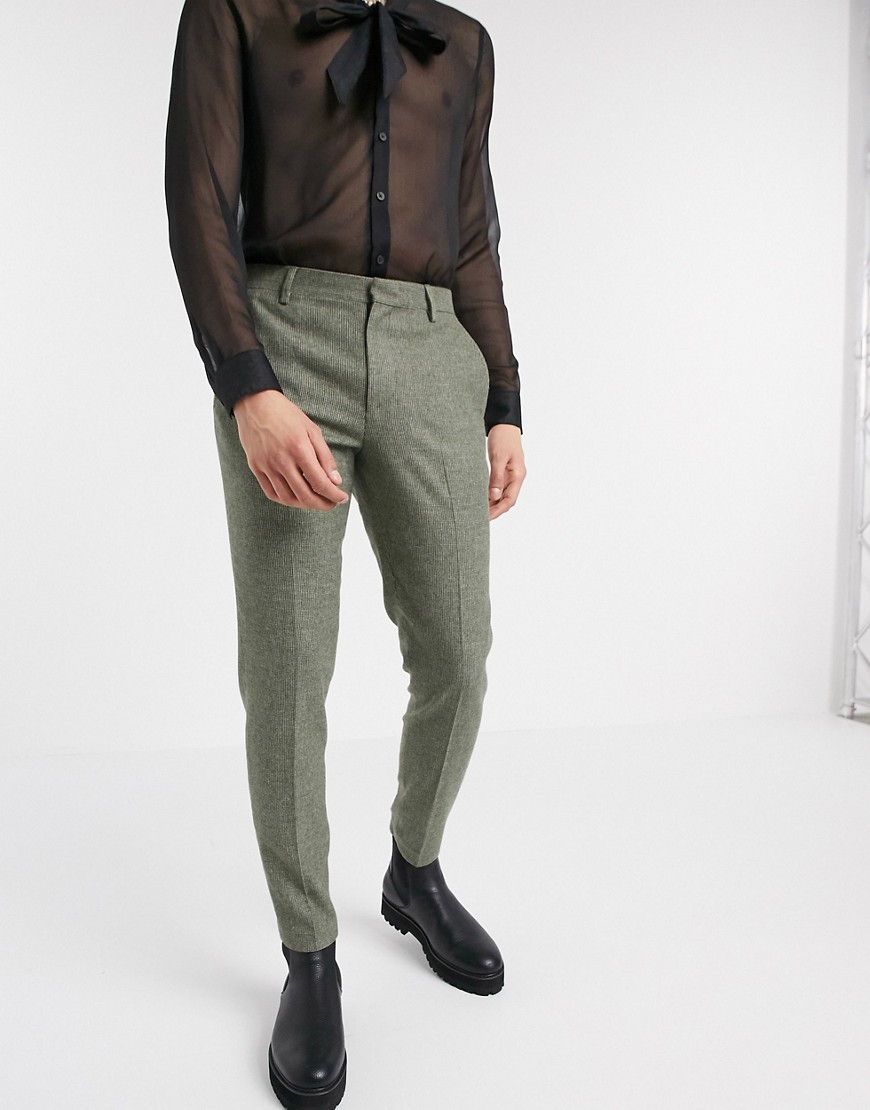 ASOS DESIGN super skinny smart trousers in mid green dog tooth-Grey