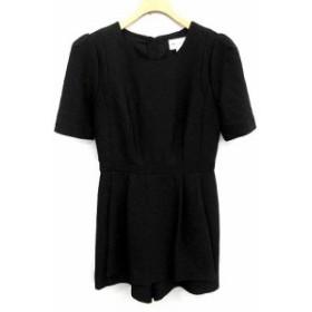 【中古】ミリー milly オールインワン サロペット ショートパンツ 半袖 2 黒 ブラック /YM レディース