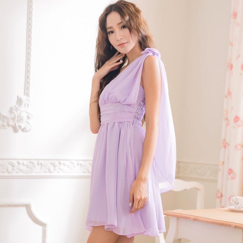 PMQueen白羽夜后洋裝禮服[30014]維納斯風單肩玫瑰飄逸傘擺洋裝/伴娘/禮服/晚宴