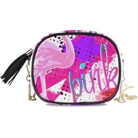 KAPANOU レディース チェーンバッグ,ピンクパワータイポグラフィグラフィックプリントフラミンゴ,ミニファッションかわいいデザインショルダーバッグパーソナライズされたカスタムの異なるスタイルの色