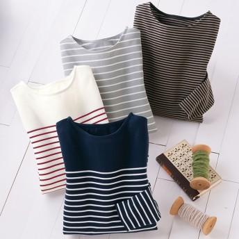 ベルーナ 【4色組】しっかり綿のボーダーTシャツ ネイビー M レディース