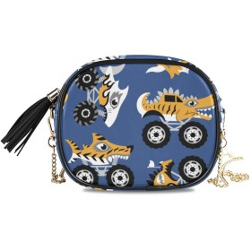 KAPANOU レディース チェーンバッグ,怖い動物モンスタートラックシームレスなベクトル,ミニファッションかわいいデザインショルダーバッグパーソナライズされたカスタムの異なるスタイルの色