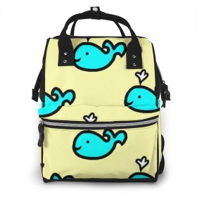 万洋 最新旅行 通勤 個性的 多機能レジャーバッグ リュック マザーズバッグ ベビー用品収納 出産準備 防水盗難防止ポケット シンプル大容量手提げ袋 かわいい -黄色と青のクジラ