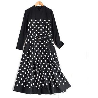 LKJASDHL かなり水玉模様のモチーフプリントベルトドレス春の正式な通勤ドレス女性のためのカジュアルな夏 (色 : ブラック, サイズ : XXL)