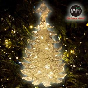 摩達客晶透迷你壓克力聖誕樹塔+50燈LED銅線燈電池燈暖白光