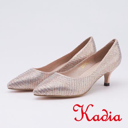 kadia.迷人閃耀雙色水鑽尖頭高跟鞋(9508-28金色)