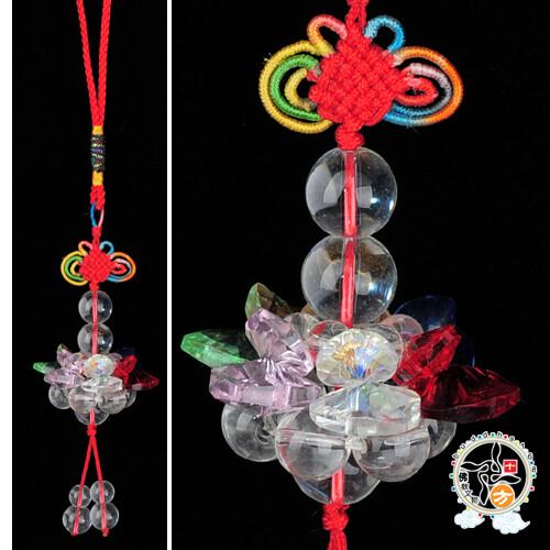 水晶彩蓮花球(直徑4.5公分) +平安小佛經十方佛教文物