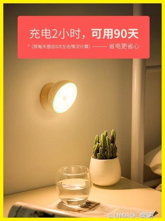 智能人體自動感應LED小夜燈充電池式款無線聲控家用過道樓道壁燈