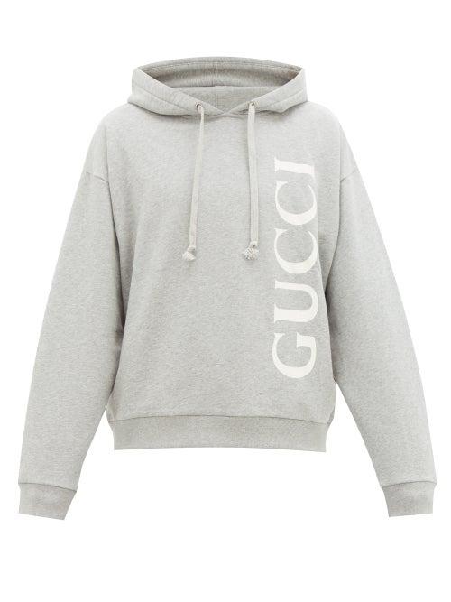 Gucci - Logo-print Cotton Loop-back Hooded Sweatshirt - Mens - Light Grey