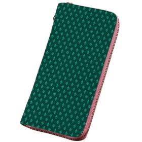 フルールデリス プリント PU レザー レデ 紋章入りのレトロなフランスの装飾的な装飾 カード納 取り出しやすい 小銭入れ ラウンドファスナー 海緑J緑の対角線の市松模様