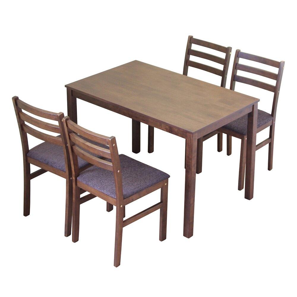 餐桌/餐椅/餐桌椅組 日式餐桌椅組(1桌4椅)(胡桃木色) 【RICHOME】DS049