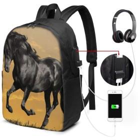 バックパック USB ポート搭載 17インチPC対応 馬ランニング74 大容量ビジネスリュック 通勤 通学 出張 旅行 メンズ レディース