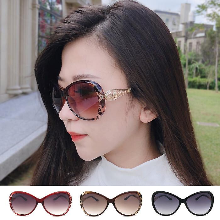 精緻女款太陽眼鏡 高貴氣質 淑女墨鏡 抗uv400 保護眼睛 金屬邊框 雕紋 鏡腳 淑女必備 時尚流