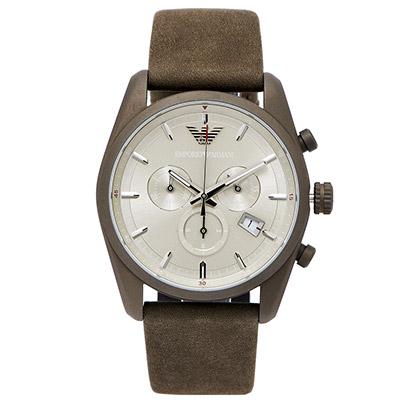 ARMANI Sportivo 文雅時尚三眼手錶 (AR6076)-灰綠色面/42mm