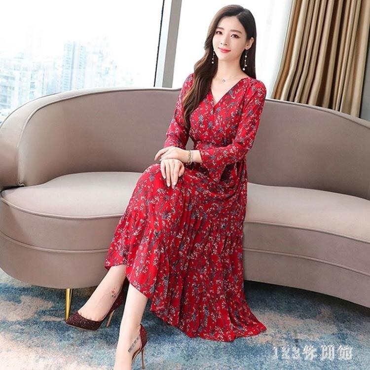 紅色洋裝 流行新款V領碎花長袖連身裙高腰收腰顯瘦過膝雪紡長