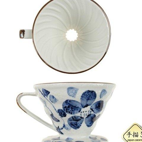 [贈騎士半磅]MILA 日式手繪藍藤花1~2份陶瓷濾杯(V形丹錐形)