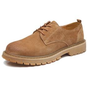 [SJXIN-Mens Boots] 冬のメンズブーツ、メンズファッションアンクルブーツカジュアルラウンドトウの耐摩耗ベルト作業靴 (Color : 褐色, サイズ : 24 CM)