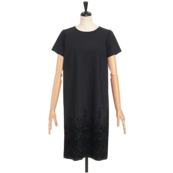 LESTERA フロッキープリントサックドレス ワンピース,ネイビー