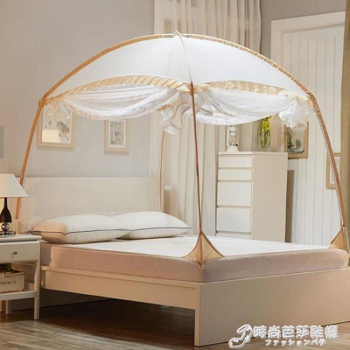 蚊帳 新款升級蒙古包蚊帳三開門拉錬有底無底1.2米1.5m1.8m床雙人家用