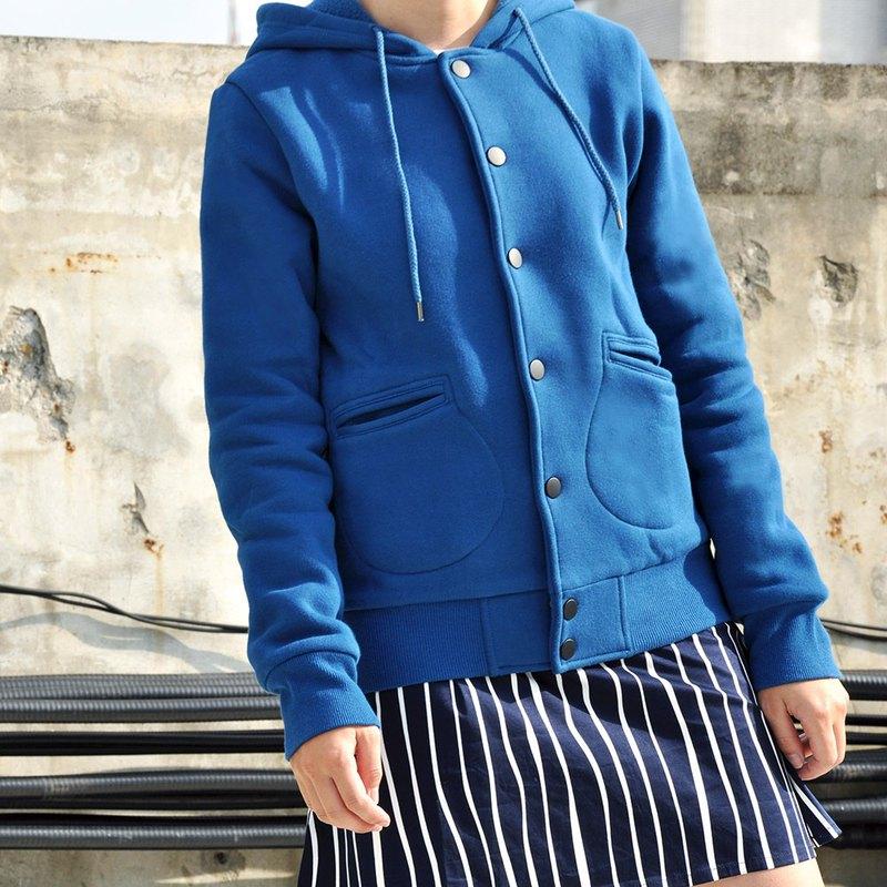 內刷毛棉質連帽衛衣合身外套 棒球外套-湖藍色