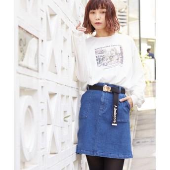 ハニーズ ベルト付台形スカート レディース インディゴ M 【Honeys】