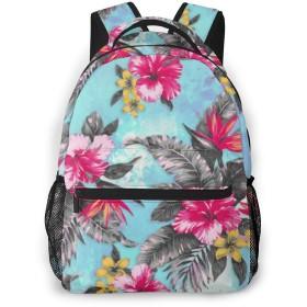 男女兼用のかわいい カジュアルバック パック リュックサック ファッションバッグ 旅行バックパック カレッジバッグ スポーツ ハイキング アウトドア 人気 高校生 中学生 大学生 通学通勤 大容量、熱帯の花の絵の具の水彩画
