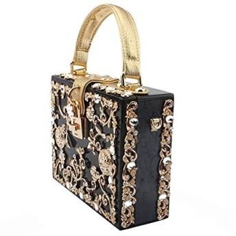 ハンドバッグ 大容量 斜め掛け 多機能 小物入れ アクリルボックスイブニングバッグの女性の高級花ロックダイヤモンド石のパターン小平方クラッチショルダーバッグ女性のディナーハンドバッグ ショルダーバッグ