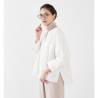 【カリテ/qualite】 ノーカラーコクーンシャツ