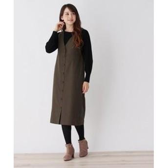 【pink adobe:ワンピース】ボタンデザイン ジャンパースカート