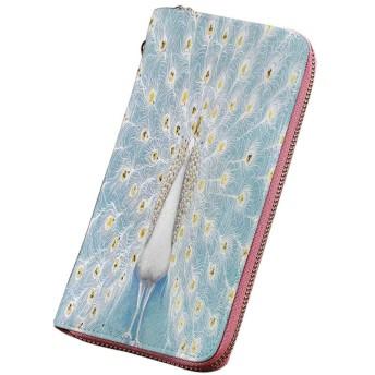 孔雀の装飾 財布 メンズ 壁自然の装飾的な孔雀パターンカラフルなスタイリッシュな華やかなアートワーク ラウンドファスナー 小銭入れ