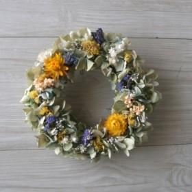 送料無料 naturalyellow wreath dryflower