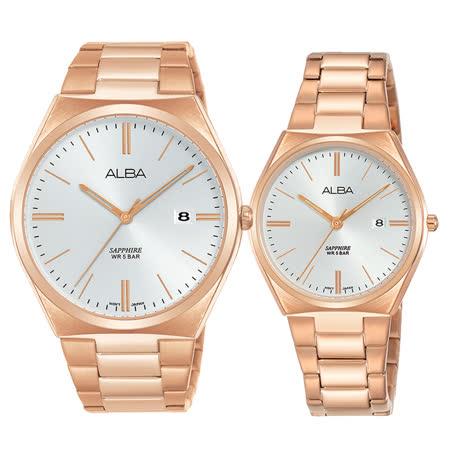 ALBA 雅柏 街頭潮流時尚對錶 金 VJ42-X286K+VJ22-X301K