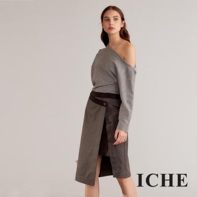 ICHE 衣哲 法式時尚假兩件拼接條紋造型裙-炭灰