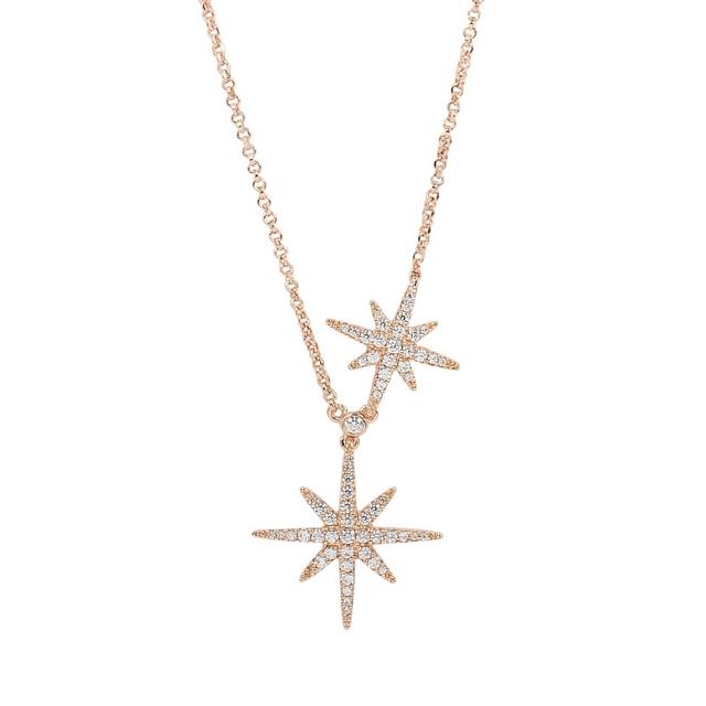 apm MONACO法國精品珠寶 閃耀玫瑰金雙繁星可調整長項鍊