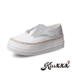 【Kissxxx】草編元素復古圓頭舒適內增高厚底樂福鞋 銀