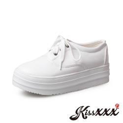 【Kissxxx】復古圓頭簡約綁帶內增高厚底牛津鞋 白