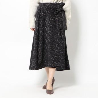 スタイルブロック STYLEBLOCK コーデュロイ花柄ラップフレアスカート (ブラック)