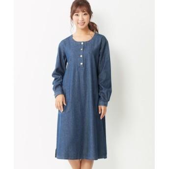 【大きいサイズ】 綿100%デニムゆるシルエットワンピース ワンピース, plus size dress